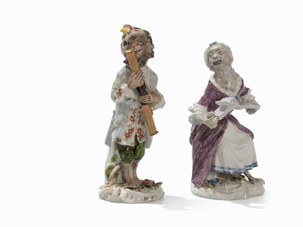 Meissen, 2 Figures From The 'Monkey Orchestra',