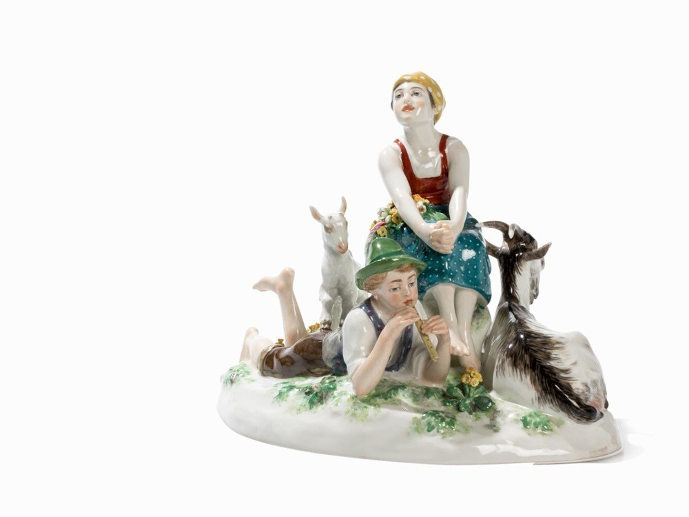 Meissen, Group of Figures 'Spring is Here', Porcelain,