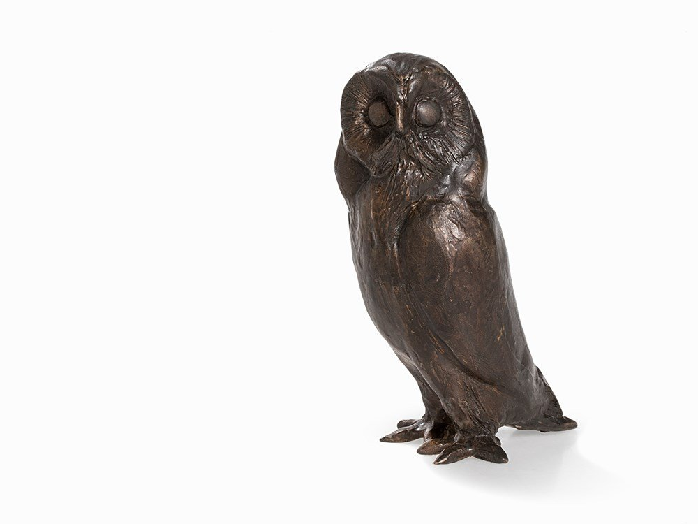 Kurt Arentz, Owl, Bronce Sculpture, Germany, circa 1990