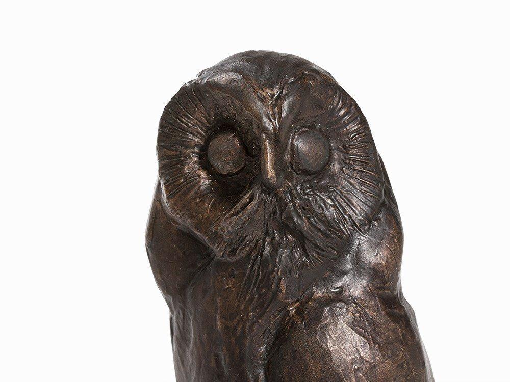 Kurt Arentz, Owl, Bronce Sculpture, Germany, circa 1990 - 2
