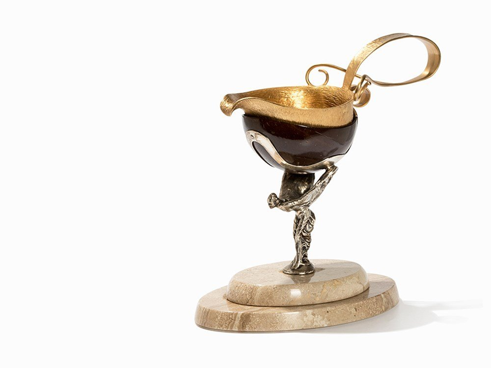 A Gilt Silver Saucière with Nutshell Stand, 20th C.