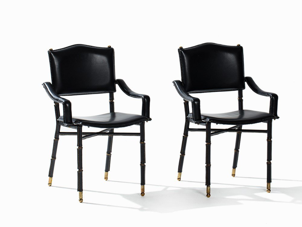 Jacques Adnet, A Pair of Faux Bamboo Armchairs, France,