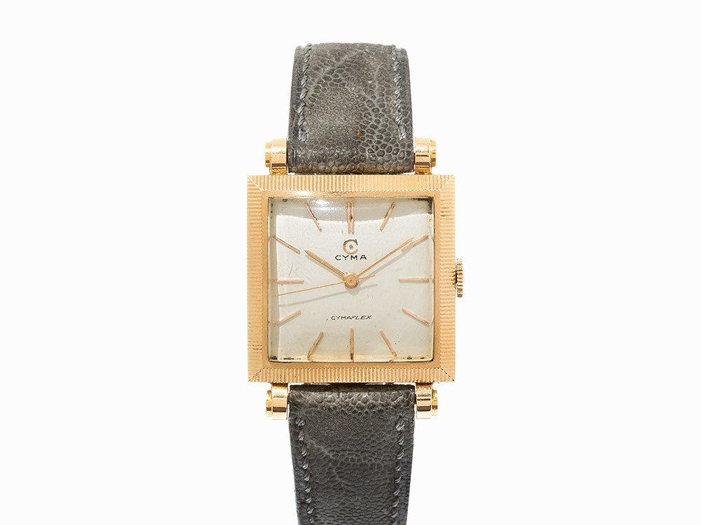 Cyma Cymaflex Gold Wristwatch, Switzerland, c. 1950
