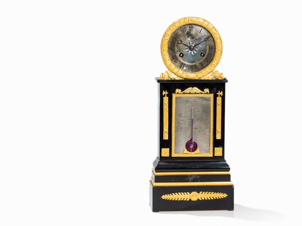 A Neo-Classical Mantel Clock with Thermometer, France,