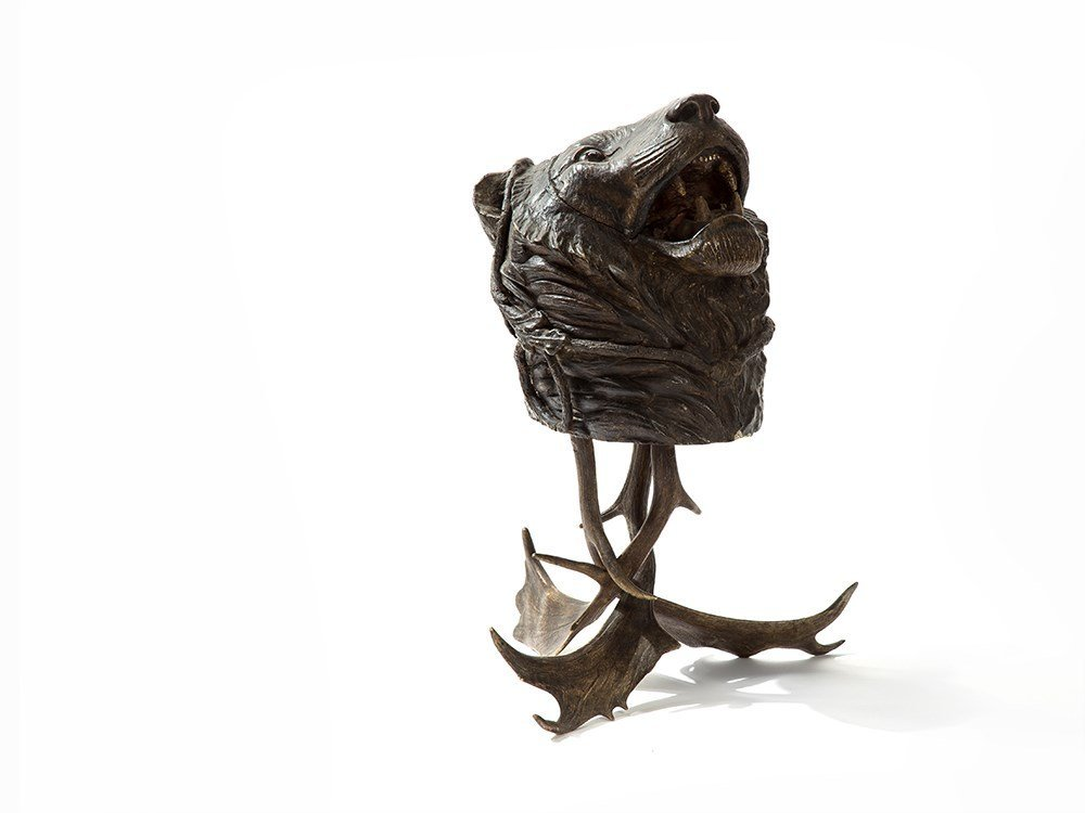 Odd Lion's Head Wastebasket on an Antlers Foot, 19th