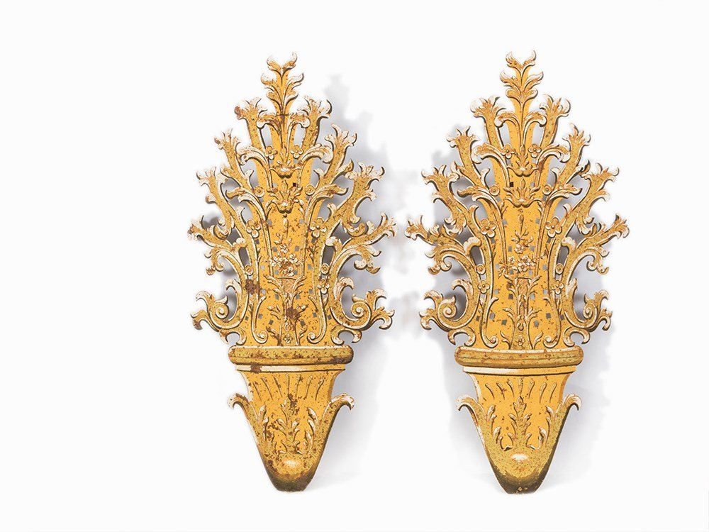 A Pair of large Hand-Painted Wall Appliques, Italy,