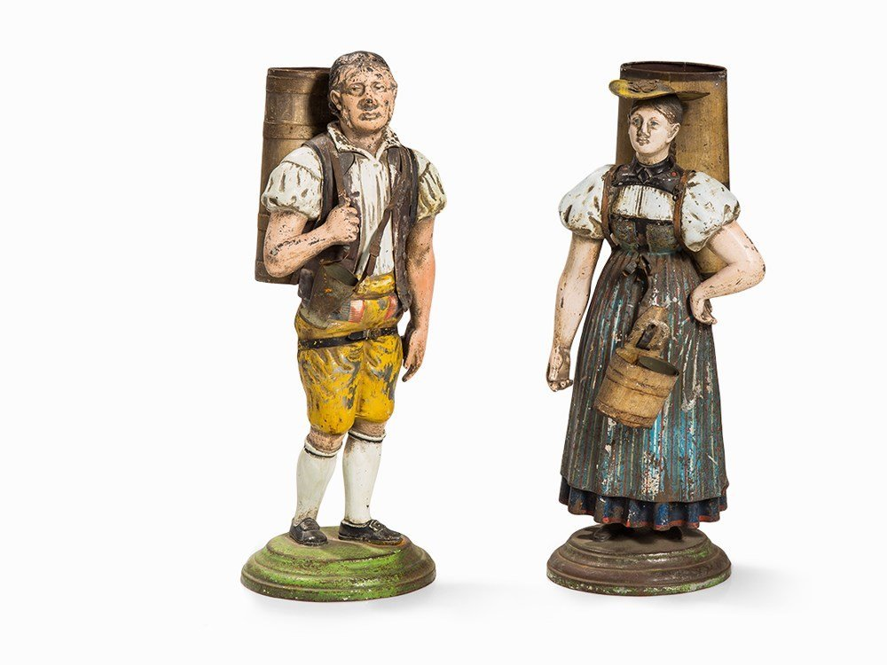 Rare Pair of Tin Figures, Milk Girl & Milker, 19th