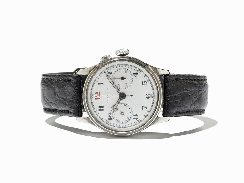 Lemania, Early Single Button Military Chronograph, C.