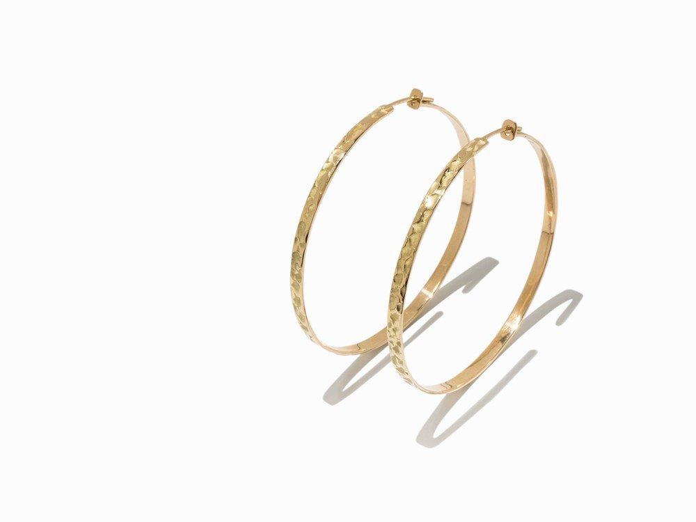 Atelier Sven Boltenstern, Hammered Gold Hoop Earrings
