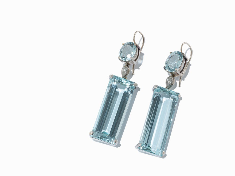 A Pair of Ear Rings with Aquamarines and Diamonds, 18K