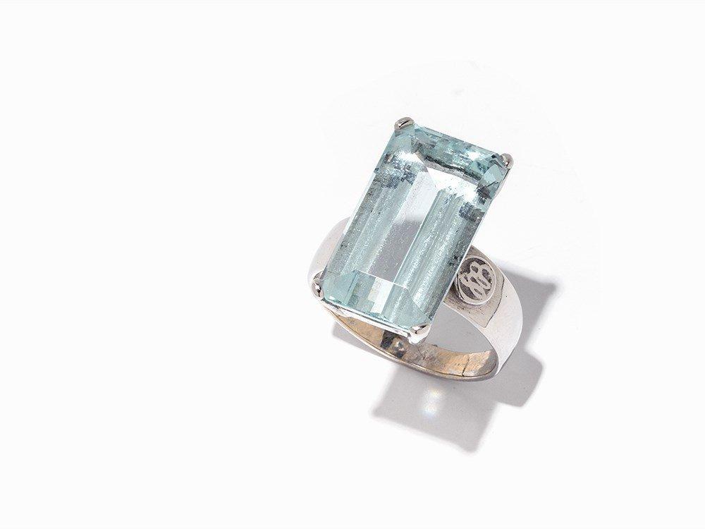 Sven Boltenstern, 18K White Gold Ring with Aquamarine