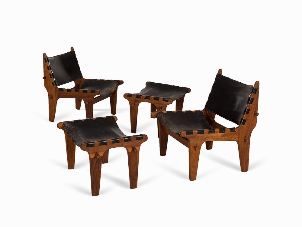 Pair of Lounge Armchairs with Ottomans, Inco, USA, c.