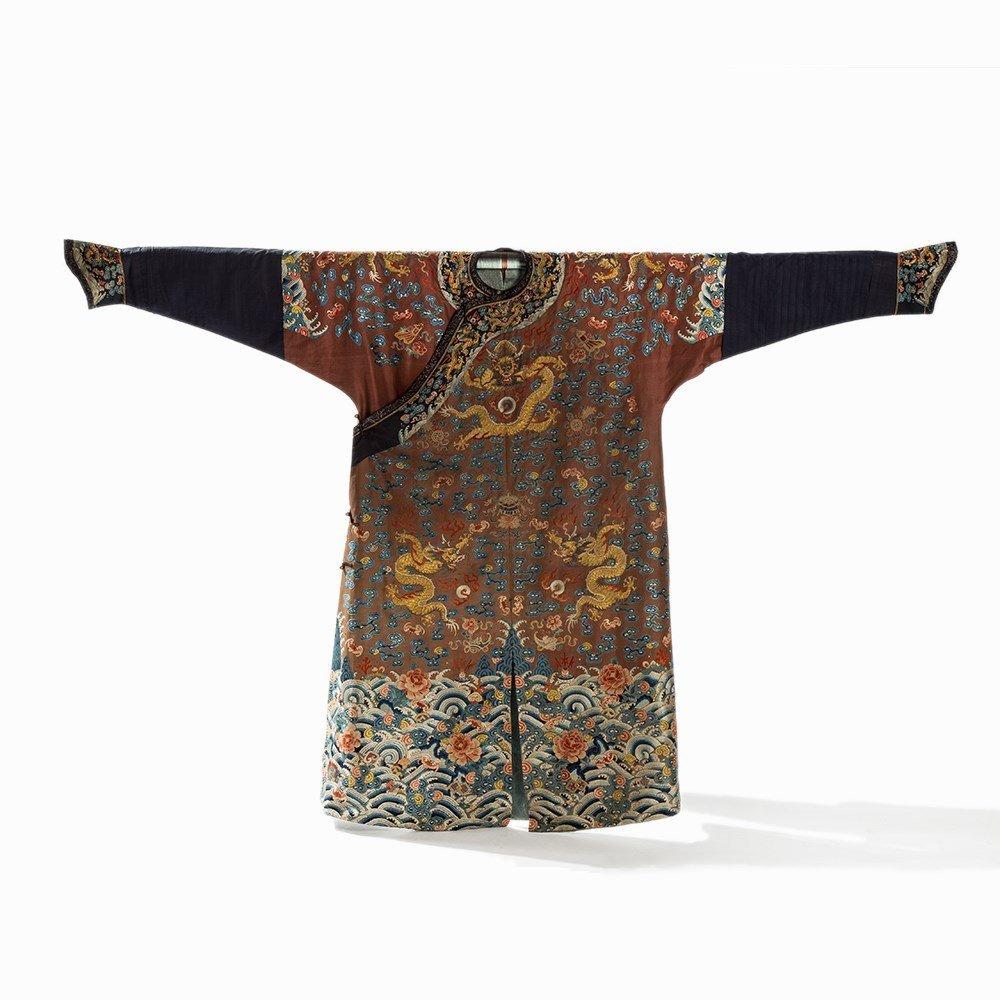 Embroidered Chestnut Silk Jifu Dragon Robe, China, c. - 10