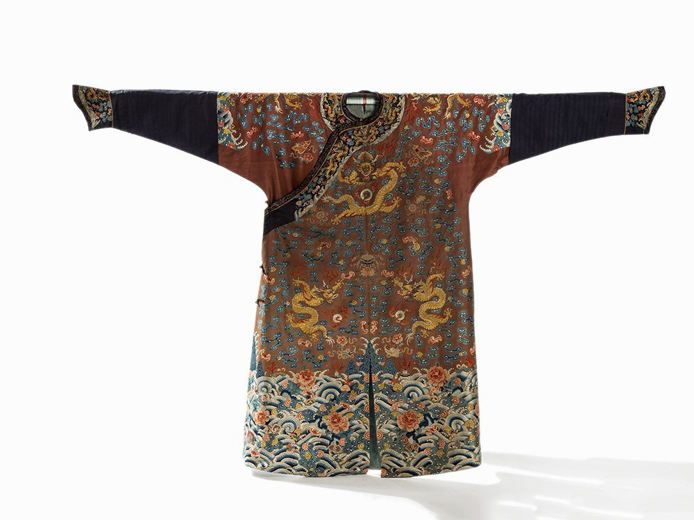 Embroidered Chestnut Silk Jifu Dragon Robe, China, c.