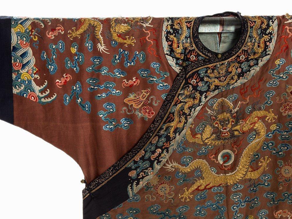 Embroidered Chestnut Silk Jifu Dragon Robe, China, c. - 2