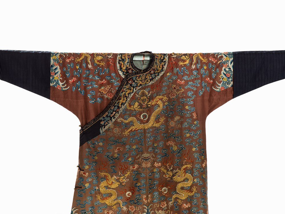 Embroidered Chestnut Silk Jifu Dragon Robe, China, c. - 3