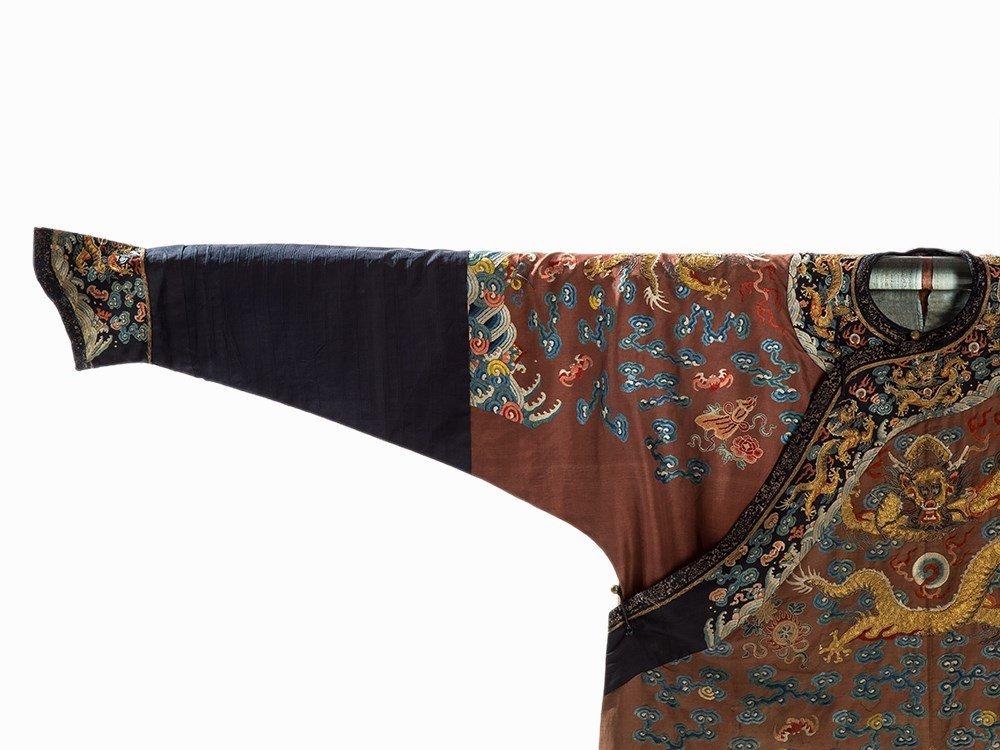 Embroidered Chestnut Silk Jifu Dragon Robe, China, c. - 4