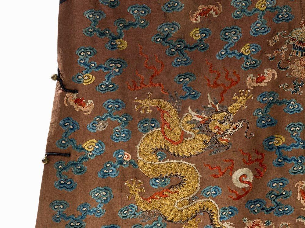Embroidered Chestnut Silk Jifu Dragon Robe, China, c. - 5