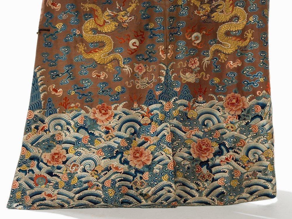 Embroidered Chestnut Silk Jifu Dragon Robe, China, c. - 6