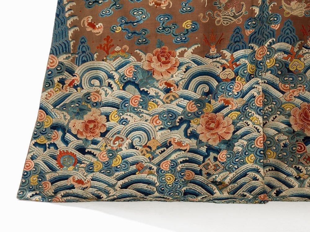 Embroidered Chestnut Silk Jifu Dragon Robe, China, c. - 7