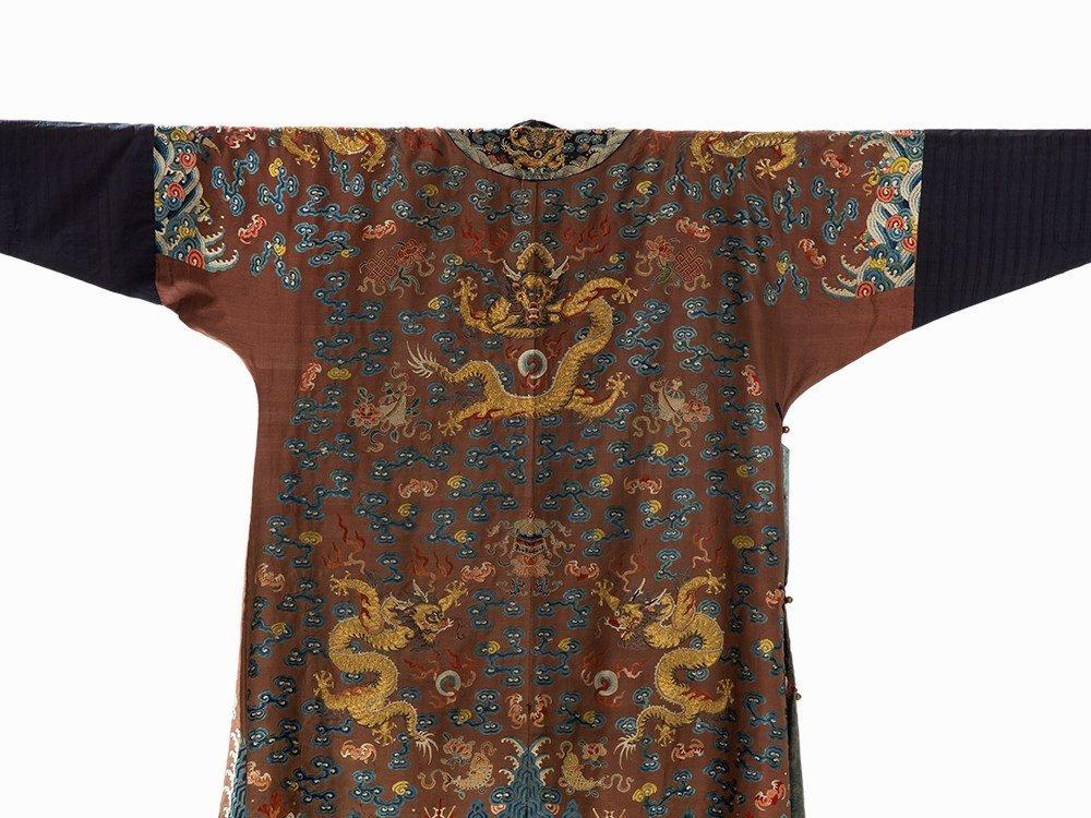 Embroidered Chestnut Silk Jifu Dragon Robe, China, c. - 9