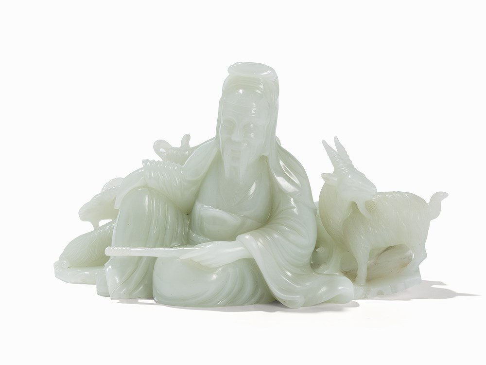 White Jade Carving,Su Wu herding in Xiongnu Land, 20th