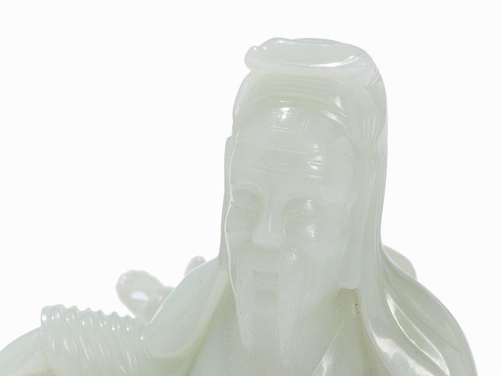White Jade Carving,Su Wu herding in Xiongnu Land, 20th - 4