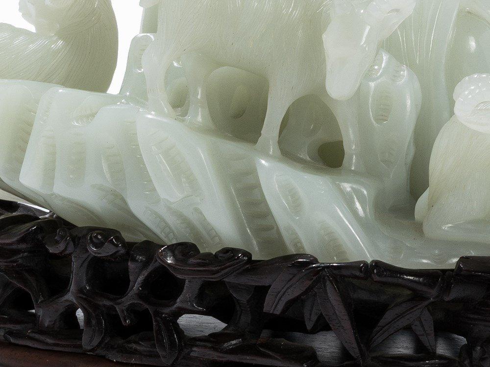 White Jade Carving,Su Wu herding in Xiongnu Land, 20th - 9