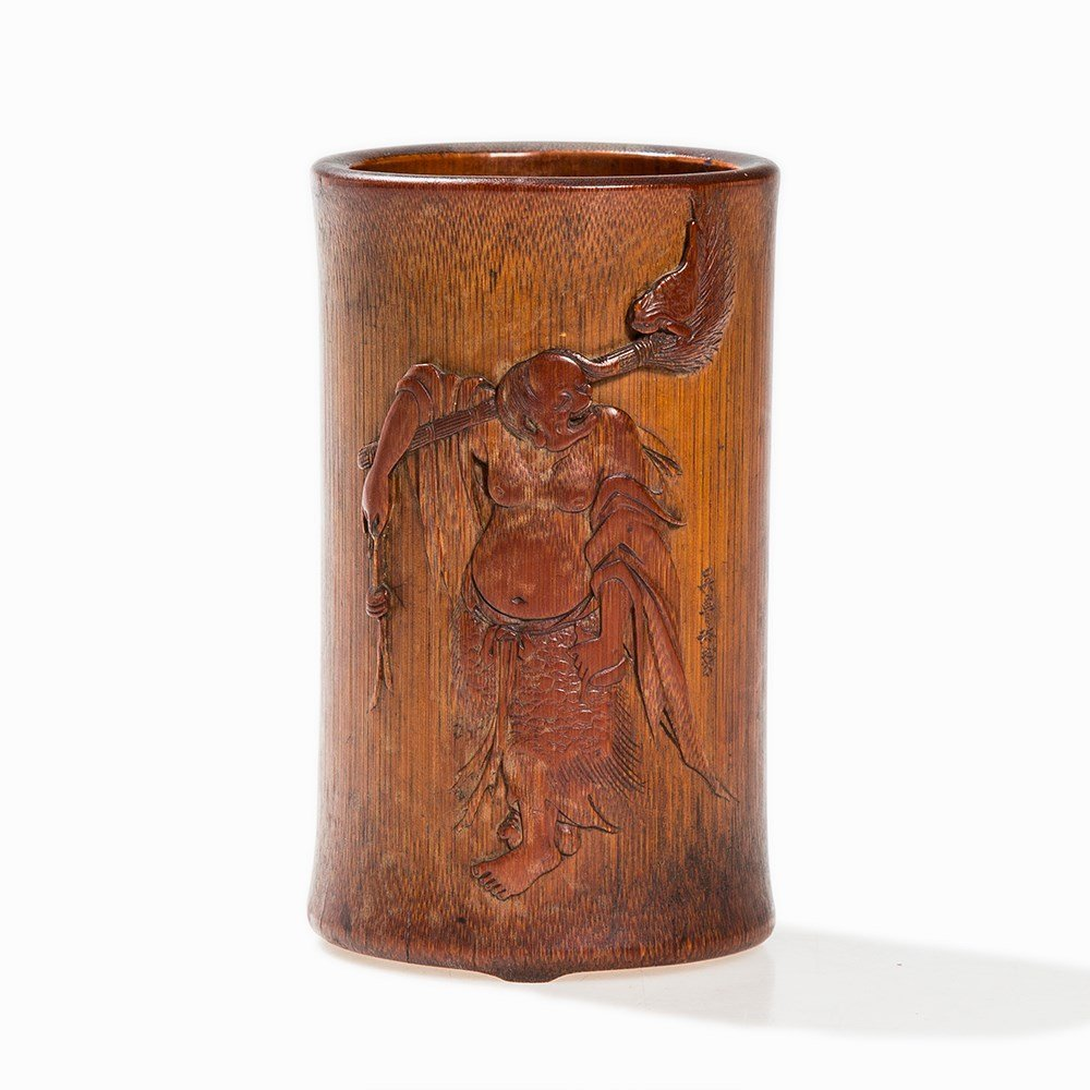 Bamboo Brush Pot with Liu Hai and Poem, China, Qing - 8