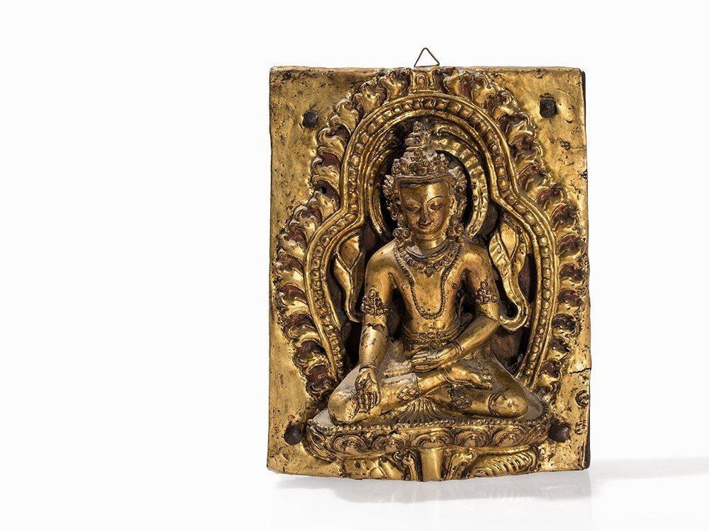 Gilt Bronze Repoussé Relief of a Bodhisattva, 18th C.