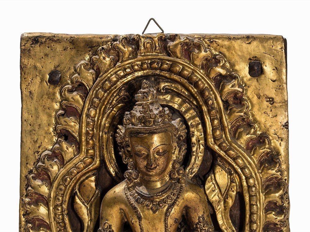 Gilt Bronze Repoussé Relief of a Bodhisattva, 18th C. - 2
