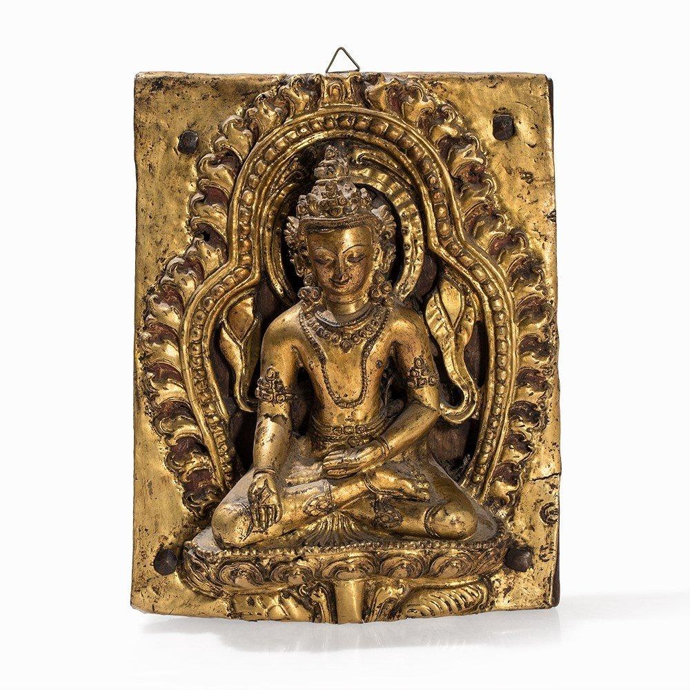 Gilt Bronze Repoussé Relief of a Bodhisattva, 18th C. - 6