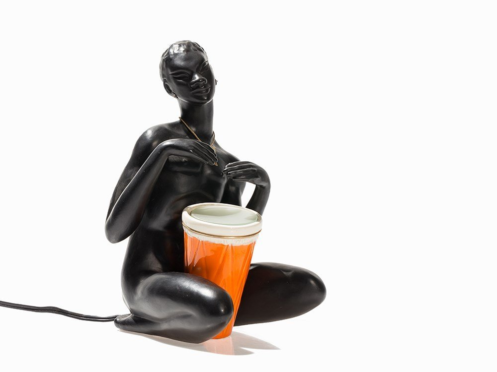 A Figural Table Lamp with an African Drummer, Marc