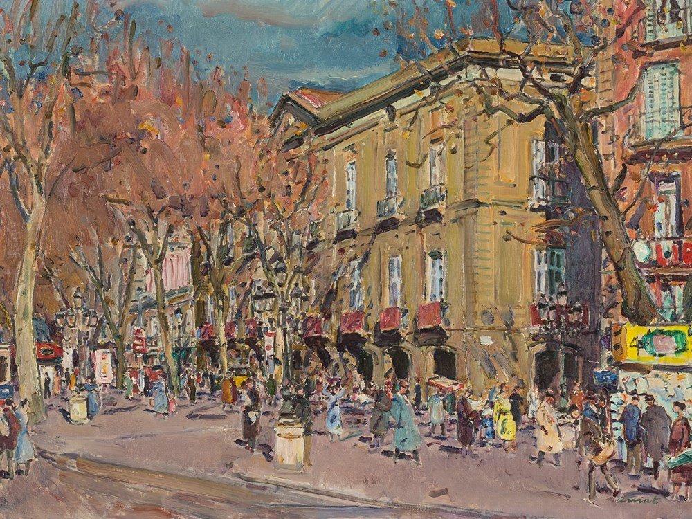 José Amat Pages, Street Scene, Oil, 2nd H. 20th C.