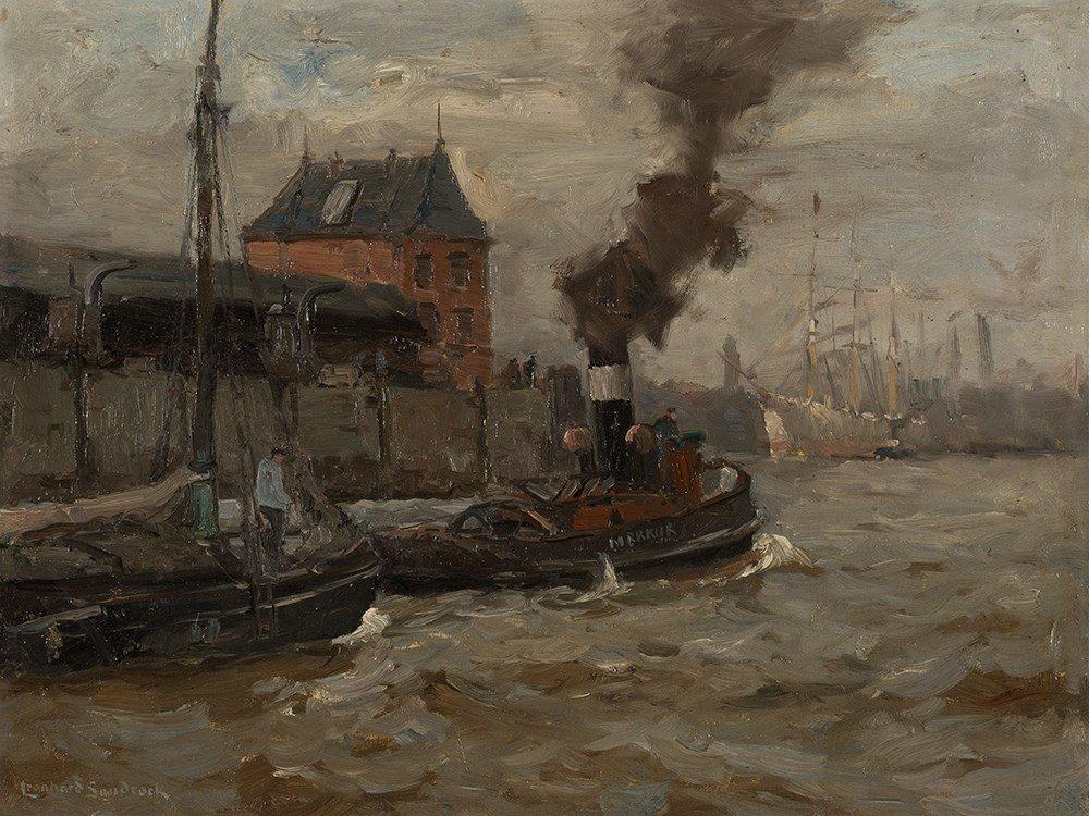 Leonhard Sandrock, Hafenschlepper (Hamburg), Oil, c.