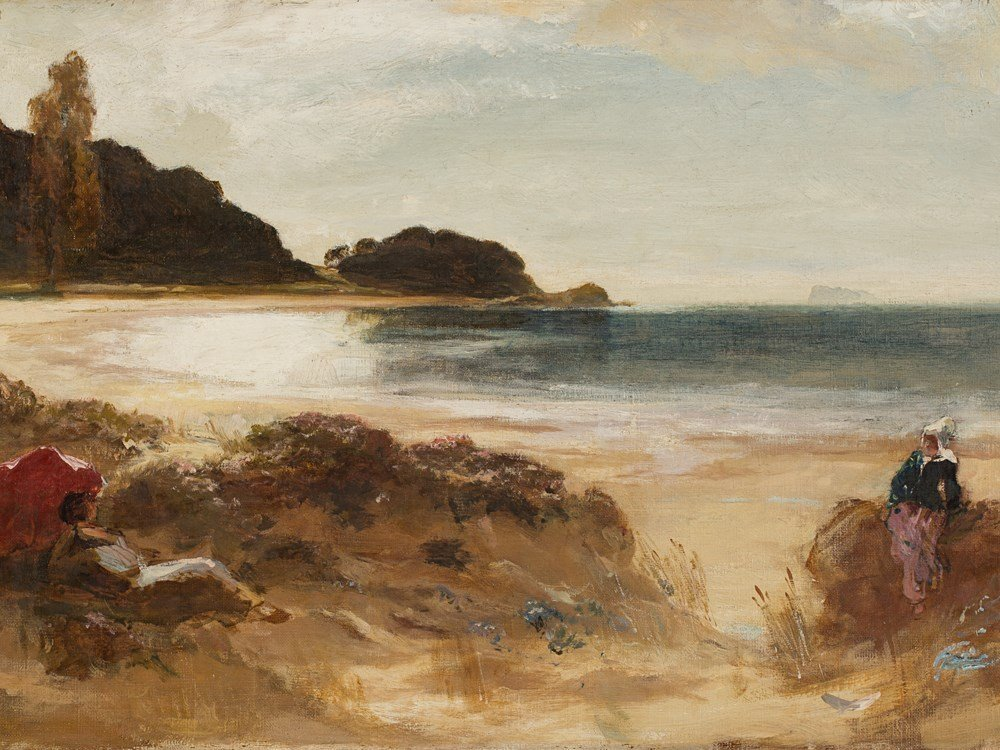 A Coastal Scene with Figures, Oil Painting, c. 1900