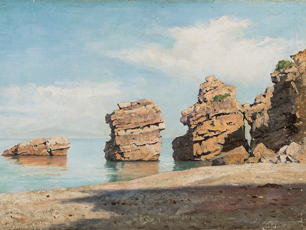 Friedrich Nerly II, Due Fratelli, Ischia, Oil, c. 1900