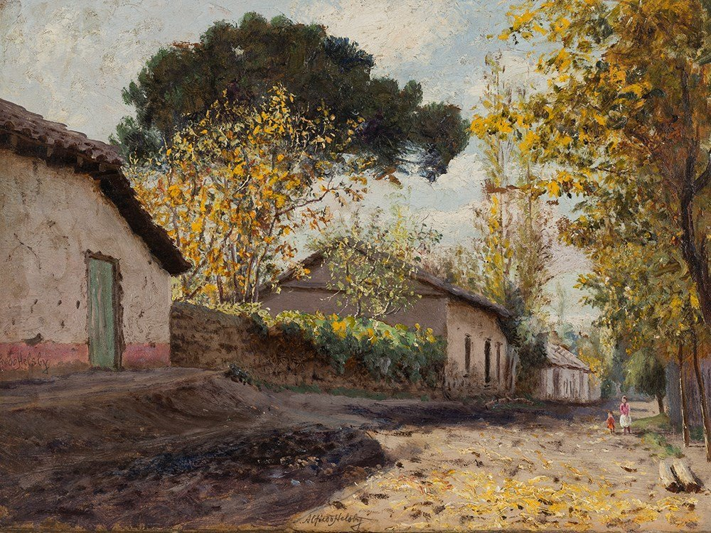 Alfredo Helsby, Village View, Oil Painting, c .1900