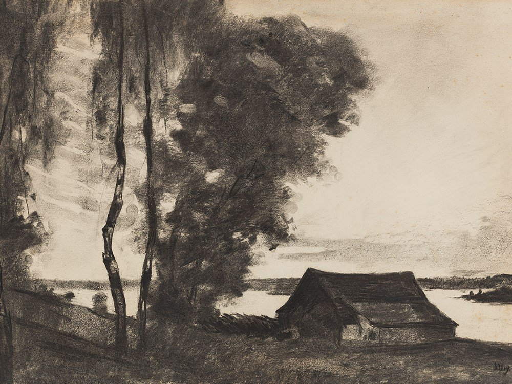 Lesser Ury,Am Neuruppiner See, Charcoal, c. 1910