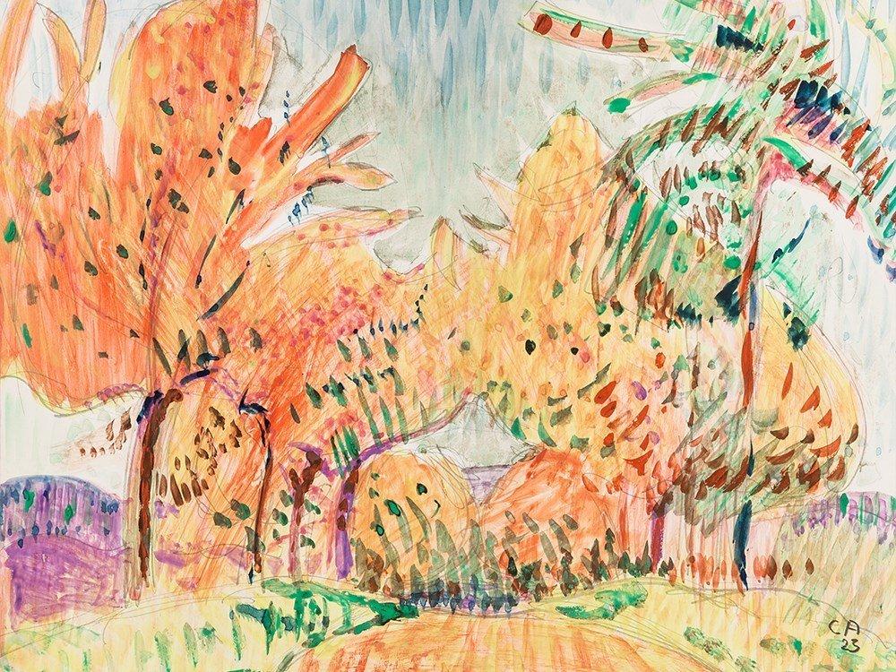 Cuno Amiet, Rote Bäume, Watercolor, 1923