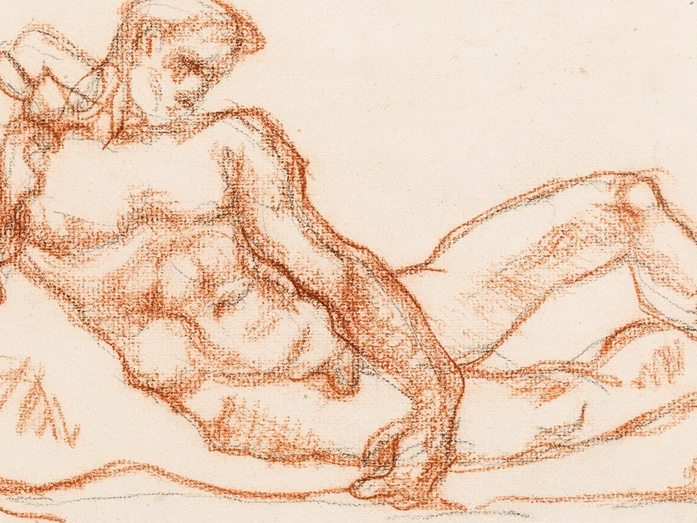 Aristide Maillol (1861-1944), Homme Couché, Drawing, c.