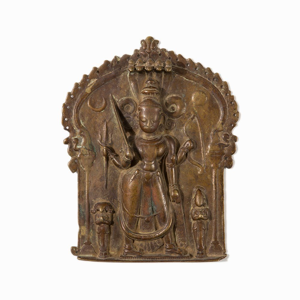 Bronze Relief with Depiction of Shiva, India, 18th/19th - 9