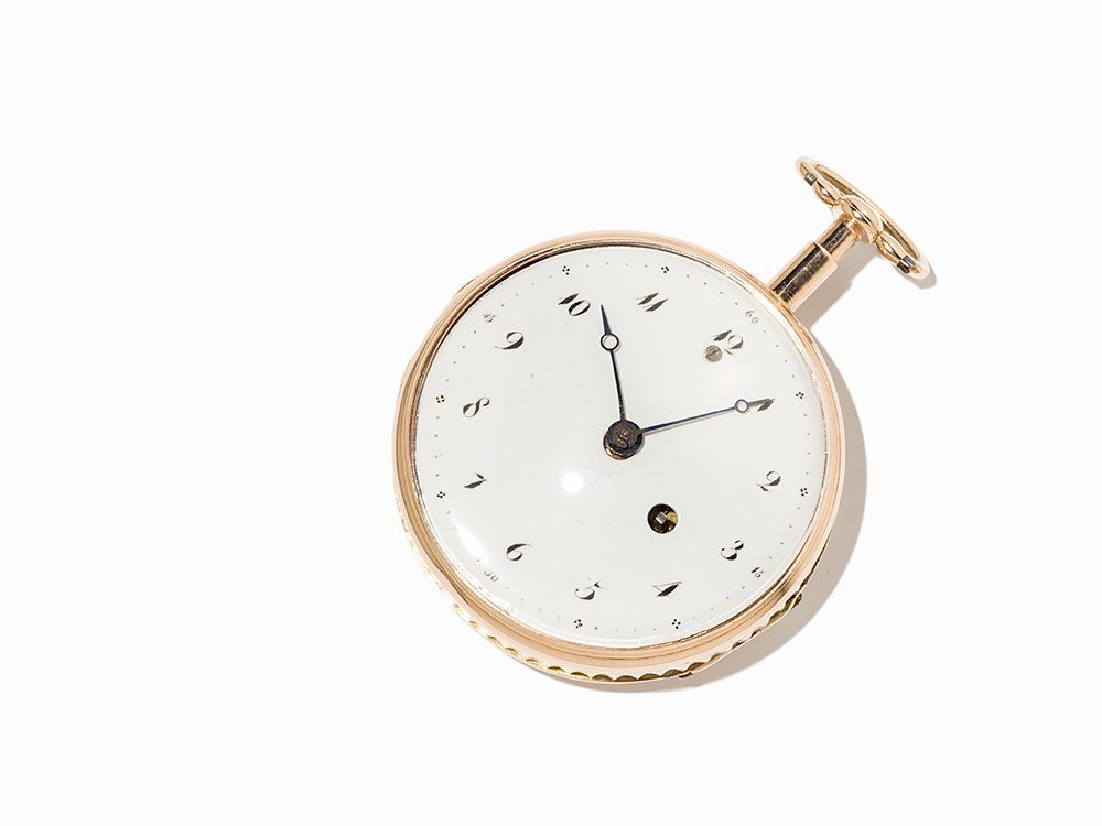 Leroay Gold Spindle Pocket Watch With  Repetition,