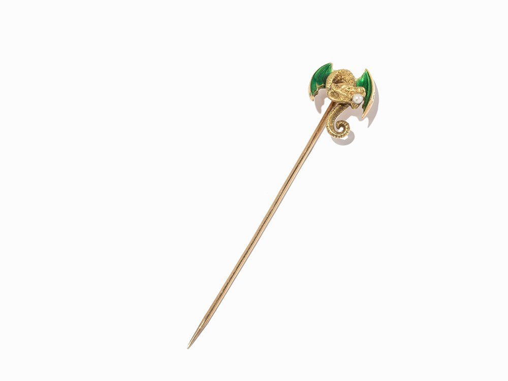 A Tie Pin with a Dragon Carrying a Peal, 14K Gold, USA,