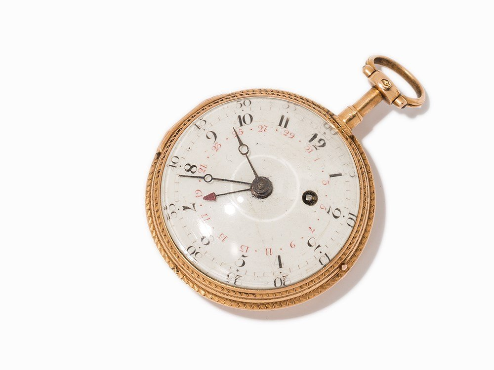 French Watchmaker Calendar Spindle Pocket Watch, c.
