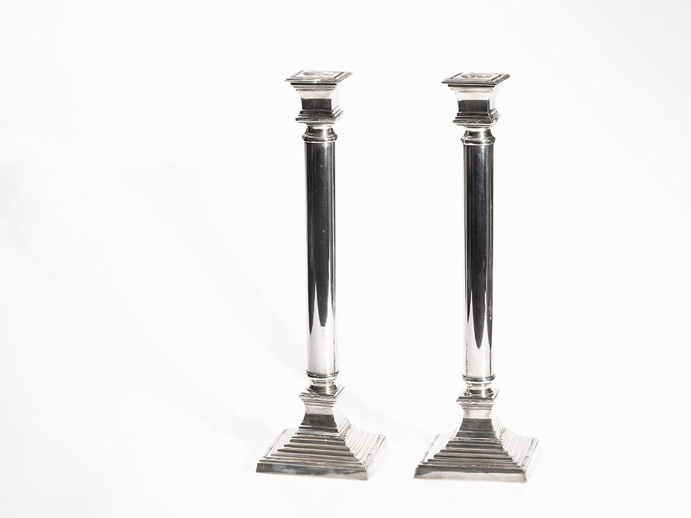 Pair of Silver Plated Candlesticks in Classical Style,