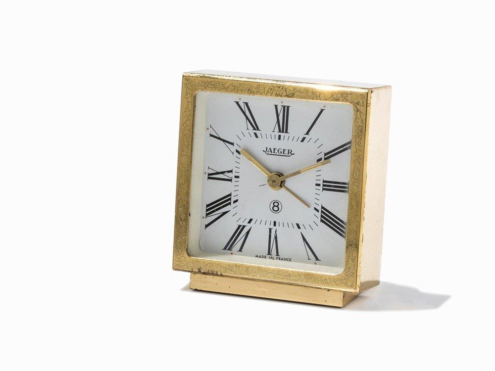 Jaeger 8 Days Alarm Table Clock, Switzerland, c. 1960