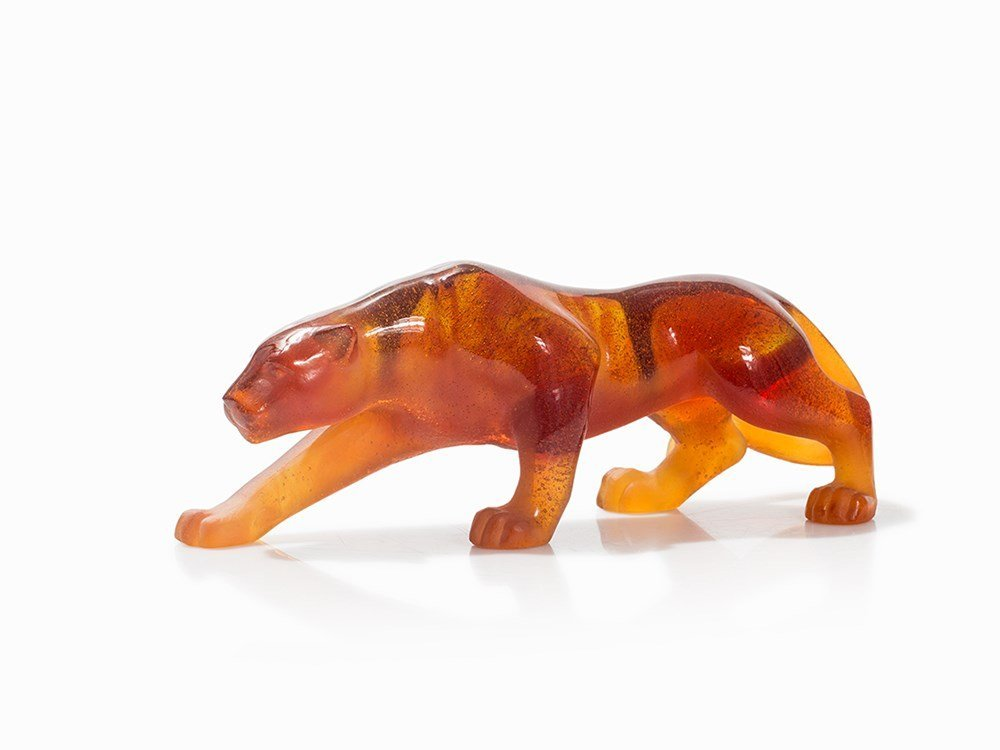 Daum France, Panther of Amber-Colored Glass, c. 2000