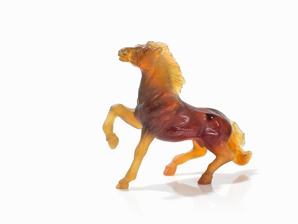 Daum France, Horse of Amber-Colored Glass, c. 2000