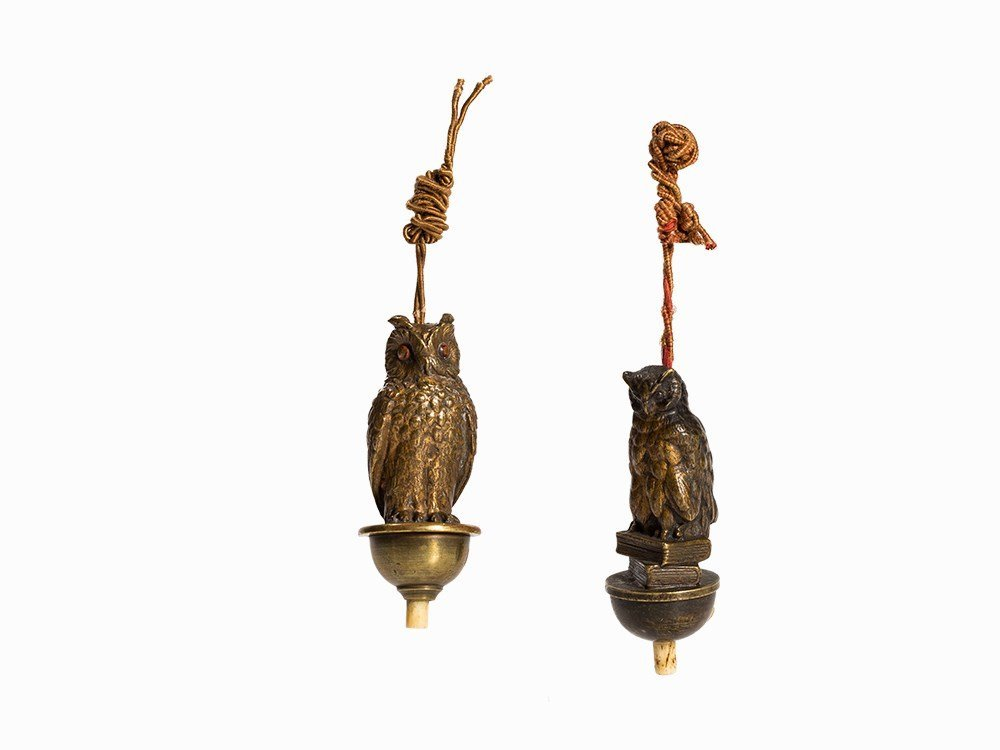 2 Hanging Bell Pushers with Eagle Owl and Owl, Early